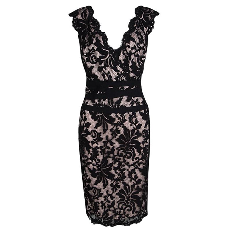 Tadashi Shoji Black And Blush Pink Embroidered Lace Sleeveless Dress M