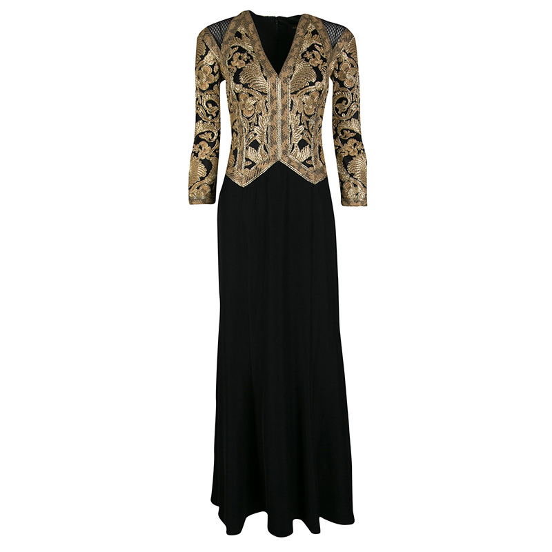 5c480f650c2 Buy Tadashi Shoji Black and Gold Cord Embroidered Long Sleeve Trompe ...