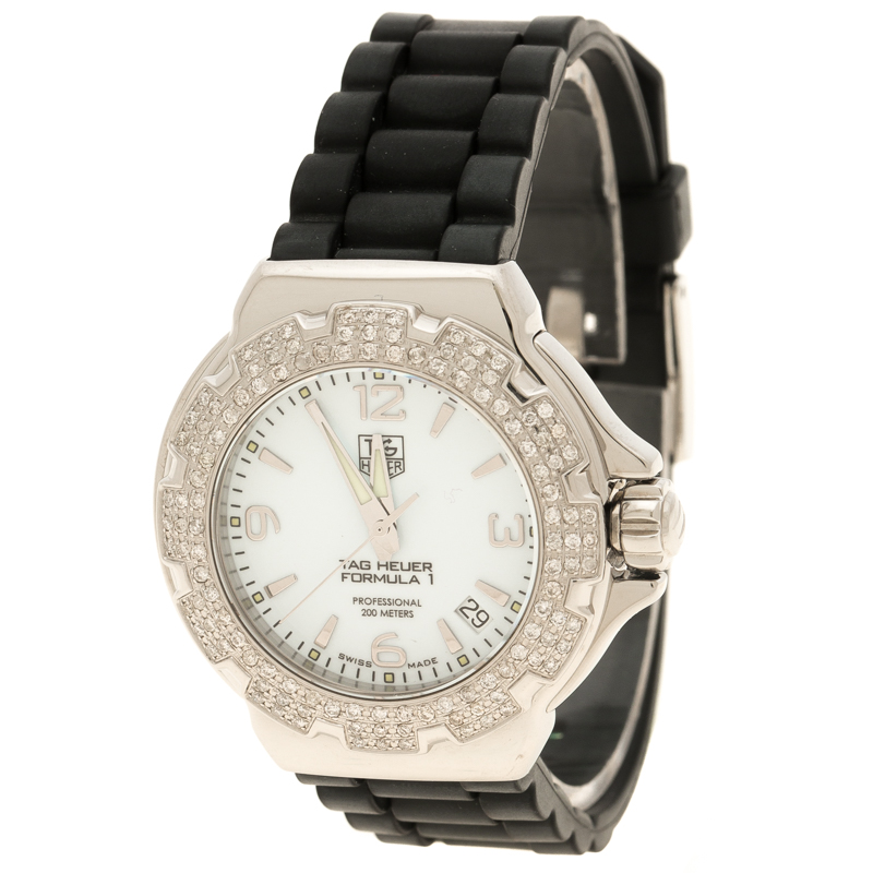 Tag Heuer White Stainless Steel And Diamonds Formula 1 Wac1215 Women S Wristwatch 35 Mm