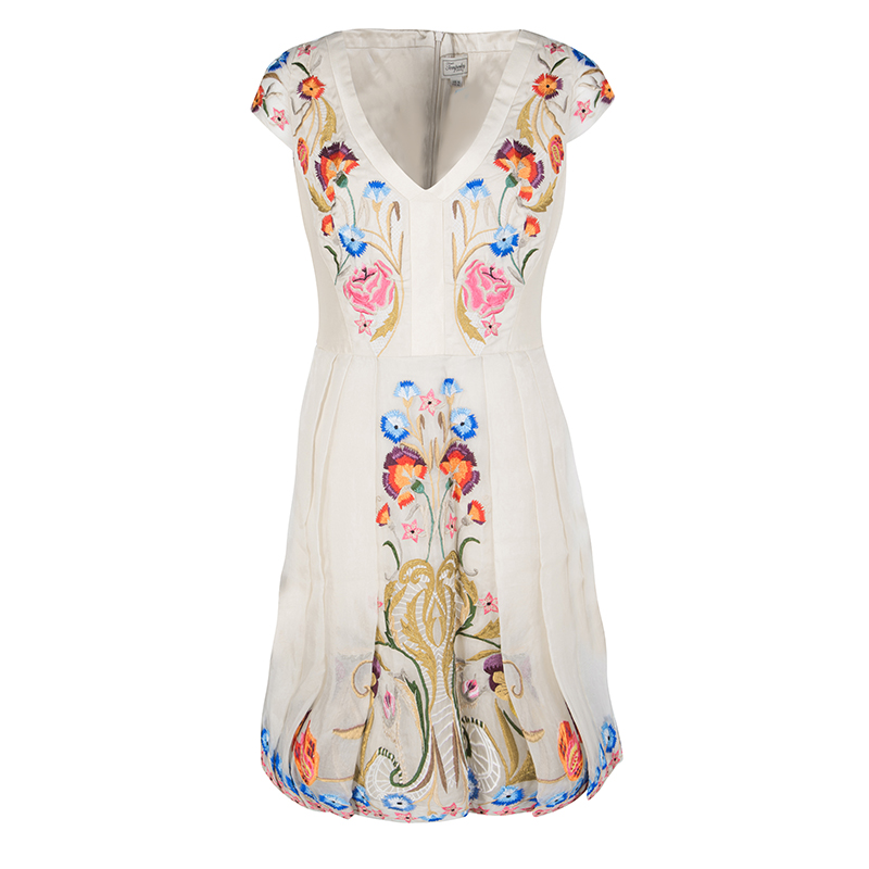 2ce97320839507 Buy Temperley London Beige Toledo Embroidered V- Neck Silk Pleated ...