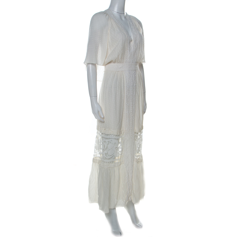 Temperley White Micro Dot Pattern Silk Lace Trim Holzer Dress