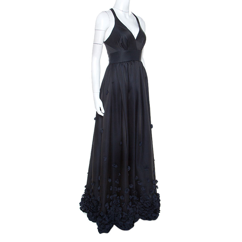 Temperley Black & Navy Blue Satin Floral Applique Detail Gown