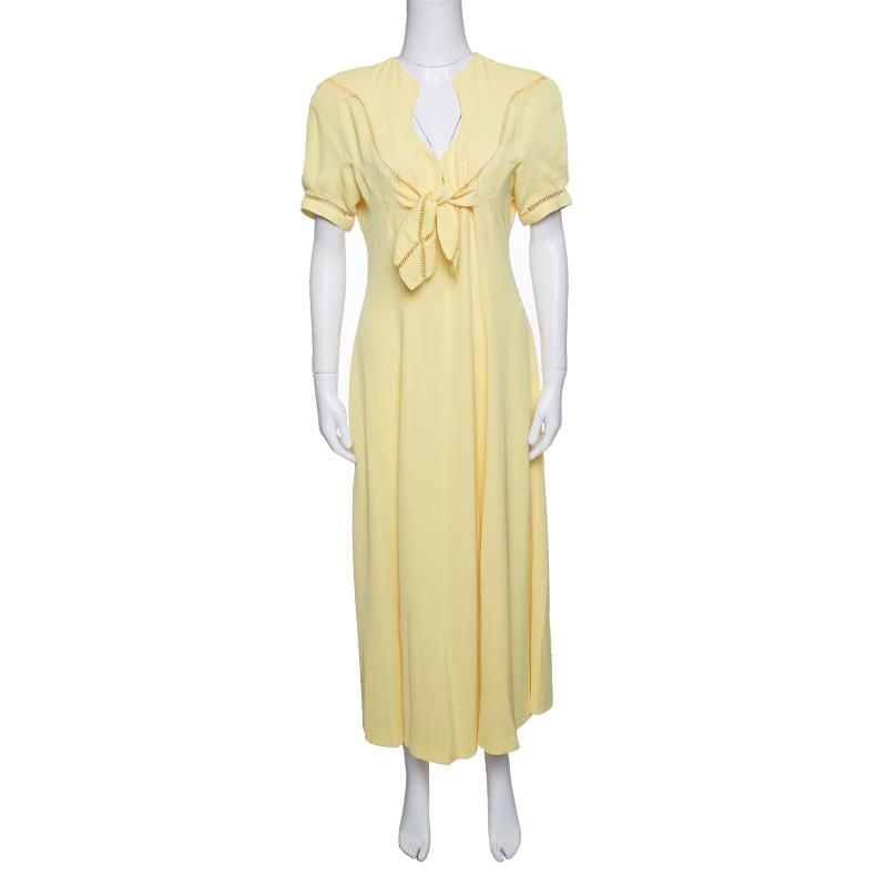 فستان ماكسي تيري موغلر أصفر فينتدج بتفريغات مزينة M