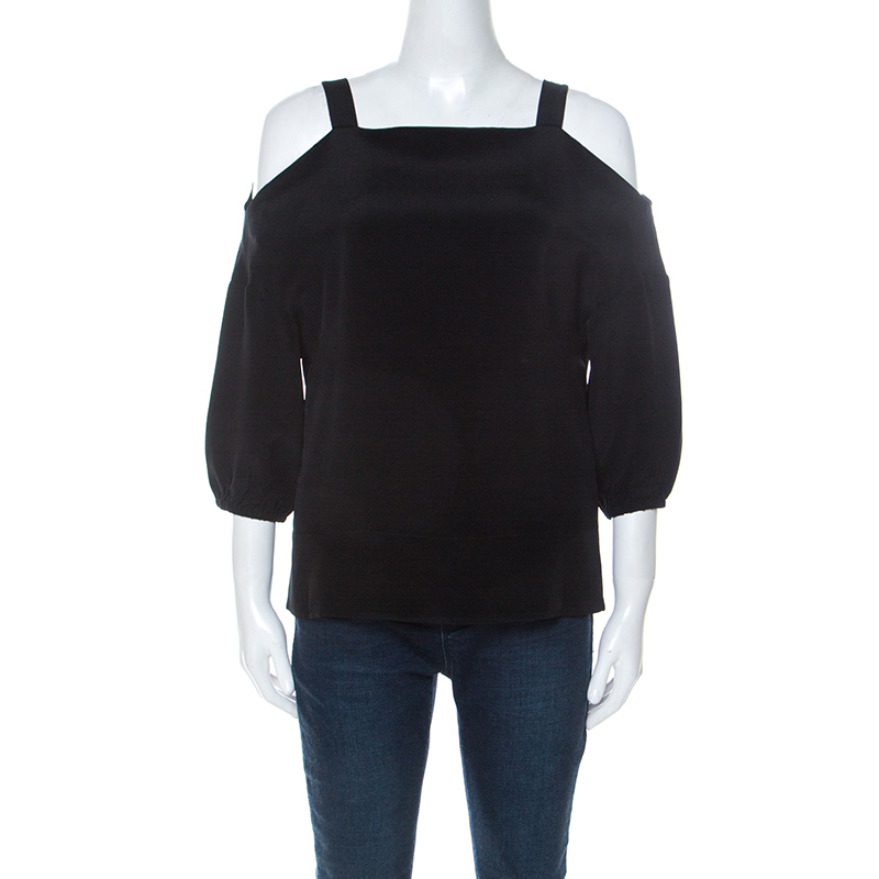 Pre-owned Tibi Black Silk Cut Out Shoulder Tunic Top Xs
