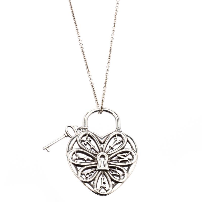 Tiffany Co Filigree Heart Pendant With Key Silver Chain Necklace Tiffany Co Tlc