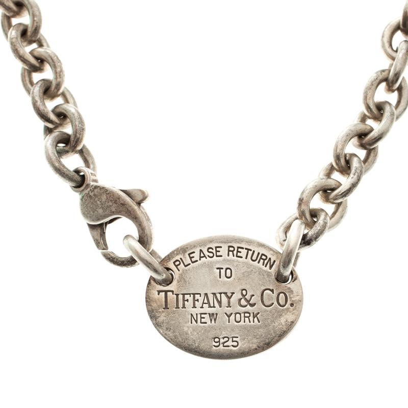 f0d579e0c08e6 Buy Tiffany & Co Return To Tiffany Oval Tag Silver Necklace 112893 ...