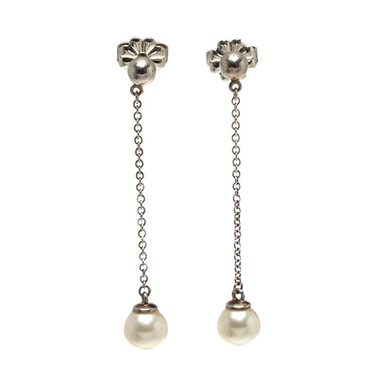 5fa8a6e29641e Tiffany & Co. Ziegfeld Collection Cultured Pearl Silver Drop Earrings