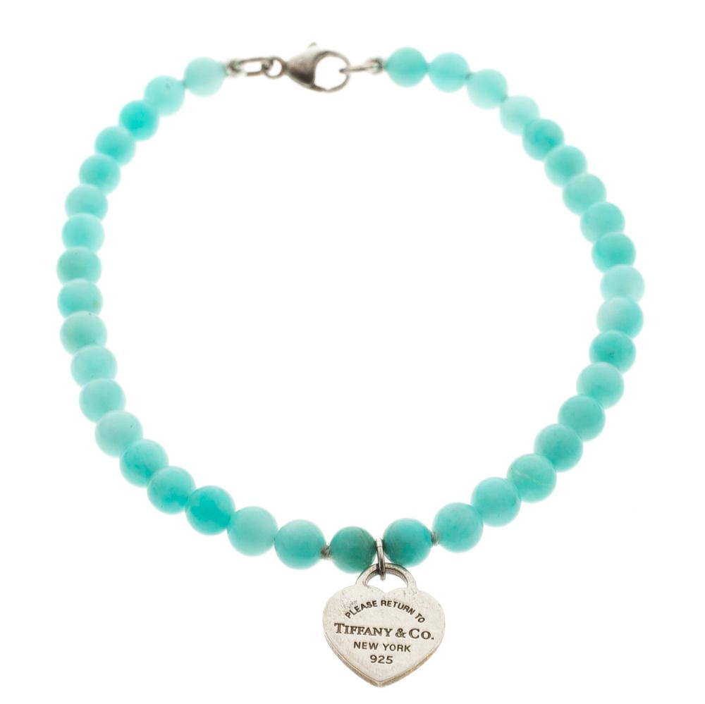 d0cd0299f878 Return To Tiffany Mini Heart Tag Silver Amazonite Bead Bracelet. nextprev.  prevnext