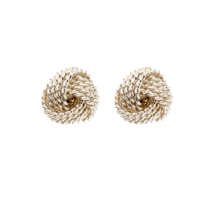 Tiffany Co Twist Knot Silver Stud Earrings
