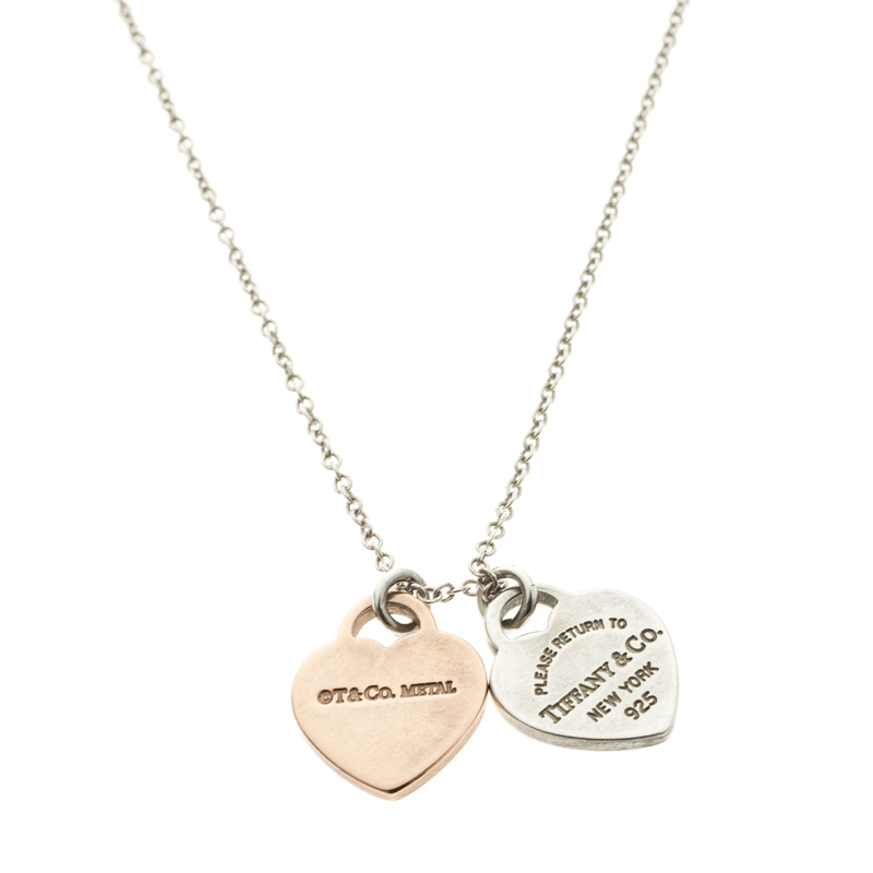6068c7234 Return To Tiffany Double Heart Tag Rubedo Silver Pendant Chain Necklace.  nextprev. prevnext
