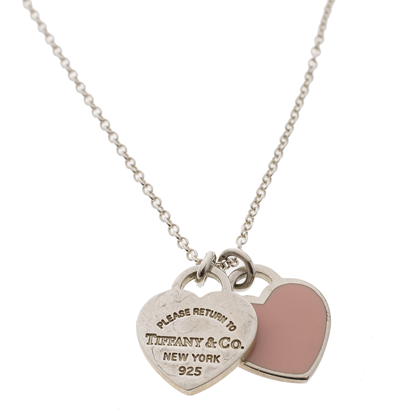 Tiffany Co Return To Tiffany Mini Double Heart Tag Pink Enamel Silver Pendant Necklace Tiffany Co Tlc
