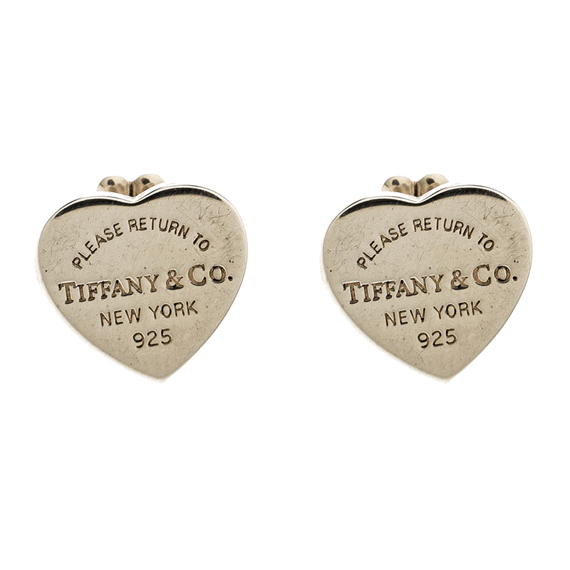 Tiffany Co Return To Mini Heart Tag Silver Stud Earrings