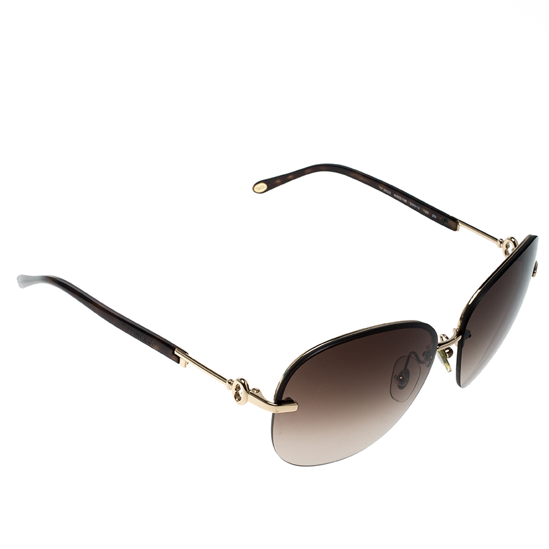 d47aa2fdc216 Buy Tiffany   Co. Gold Tone Brown Gradient TF3023 Aviator Sunglasses ...