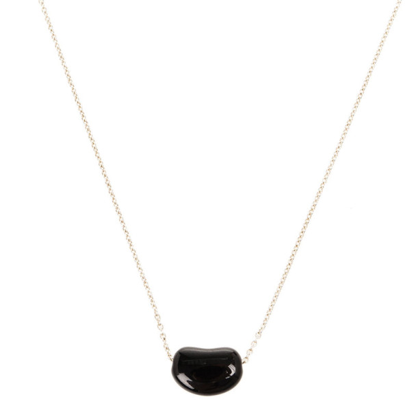 4de84217d8a90 Buy Tiffany & Co. Elsa Peretti Bean Black Jade and Silver Pendant ...