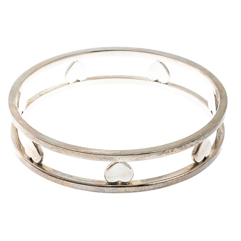 9d347db89 Buy Tiffany & Co. Open Heart Silver Wide Bangle Bracelet 139413 at ...