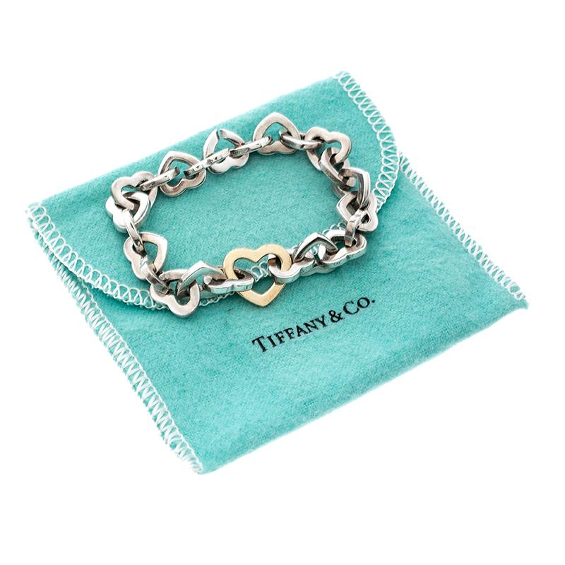Tiffany & Co  Heart Link 18k yellow gold & Silver Bracelet 17 cm