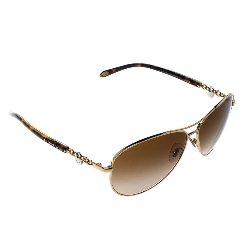 fe84a0e95e98 Buy Tiffany   Co. Gold Brown Gradient TF3034 Aviator Sunglasses ...