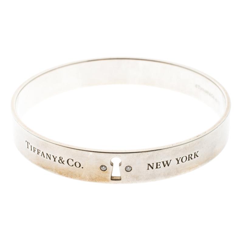 7d1d35b9e Buy Tiffany & Co. Tiffany Locks Diamond & Silver Bangle Bracelet ...