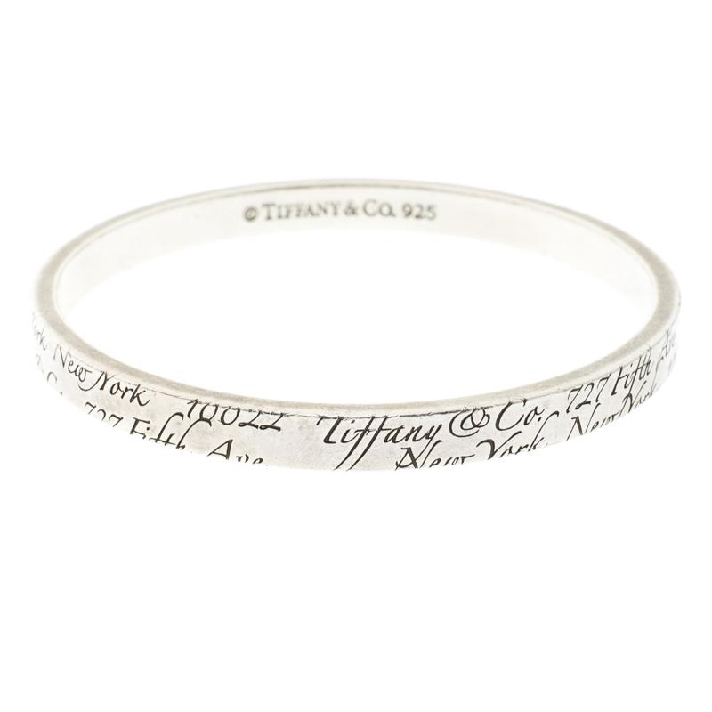 4bd8622604bf7 Tiffany & Co. Notes Engraved Silver Bangle Bracelet 19cm