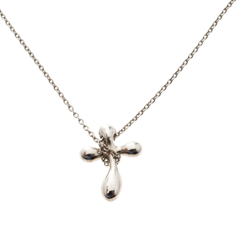 105b2b5bf60e1 Tiffany & Co. Sterling Silver Elsa Peretti Cross Pendant Necklace