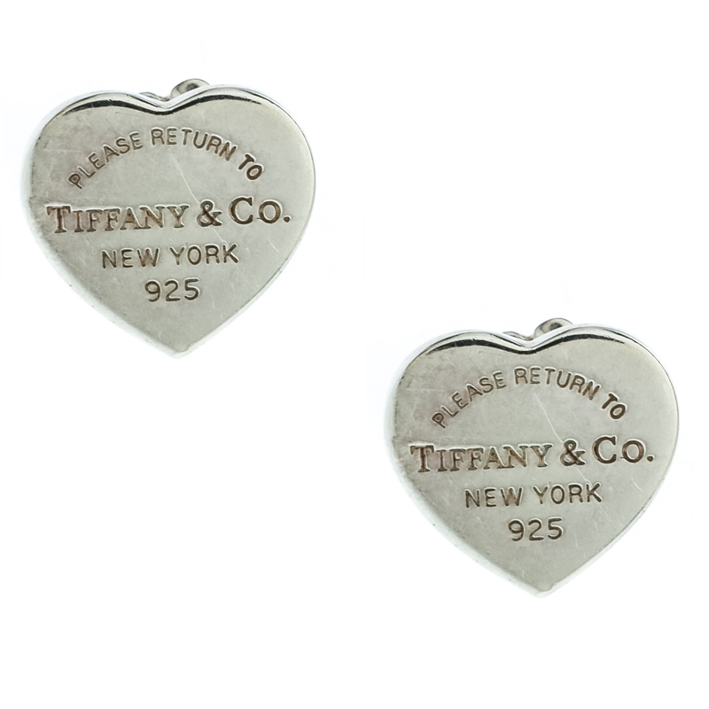 Tiffany Co Return To Silver Mini Heart Tag Stud Earrings