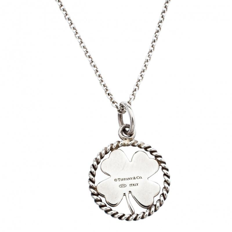 8cfa223ecedd7 Tiffany Twist Clover Charm Silver Pendant