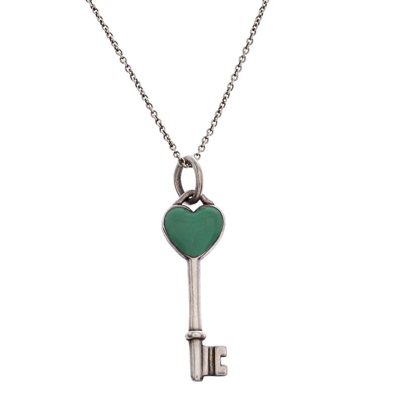 Buy Tiffany Co Silver And Green Enamel Heart Key Pendant