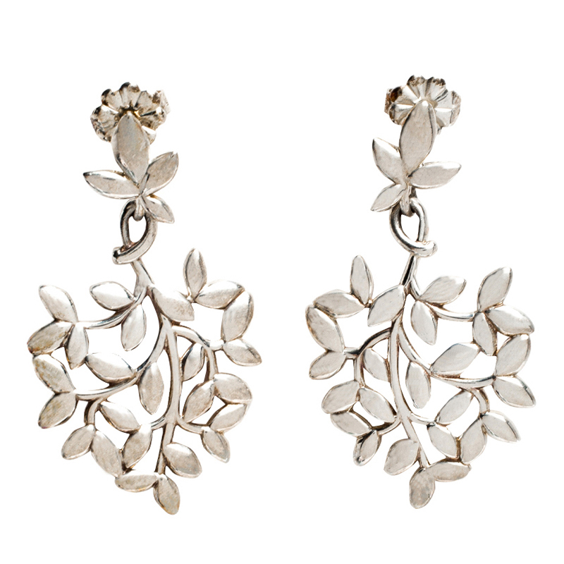 Tiffany Paloma Picasso Olive Leaf Silver Drop Earrings
