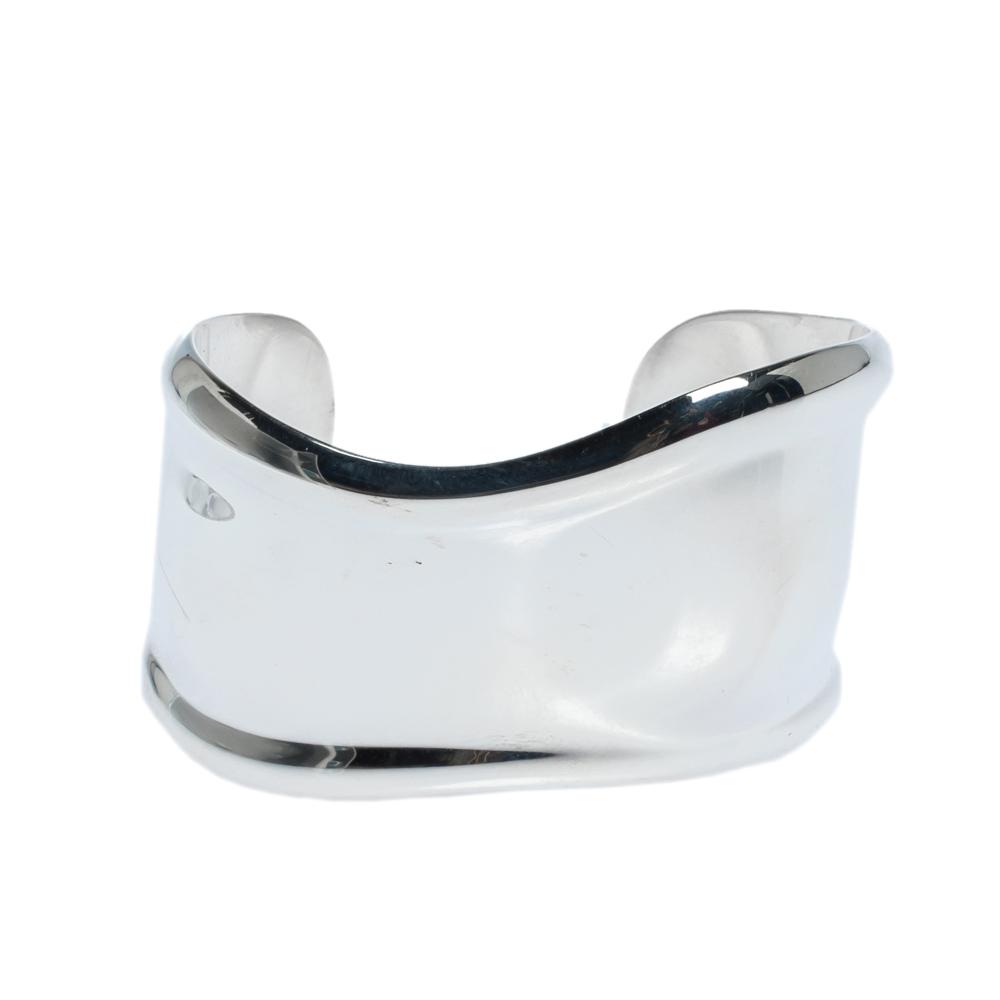 Tiffany & Co. Elsa Peretti Small Bone Silver Wide Cuff Bracelet