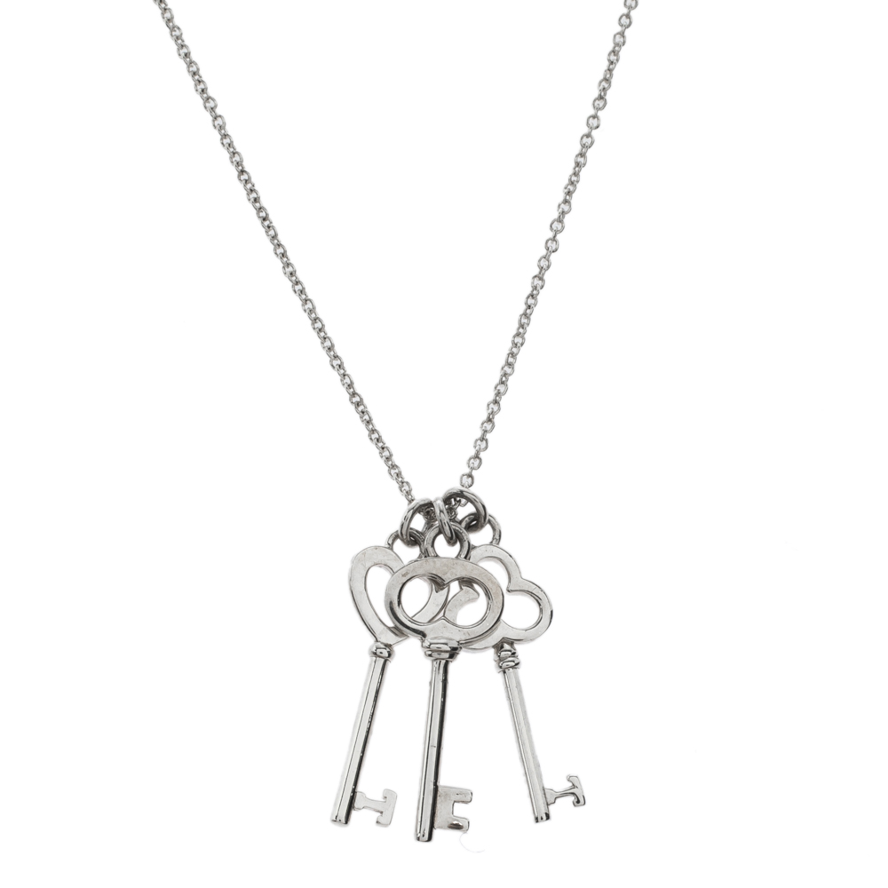 Tiffany Co Silver Mini Three Key Pendant Necklace Tiffany Co Tlc