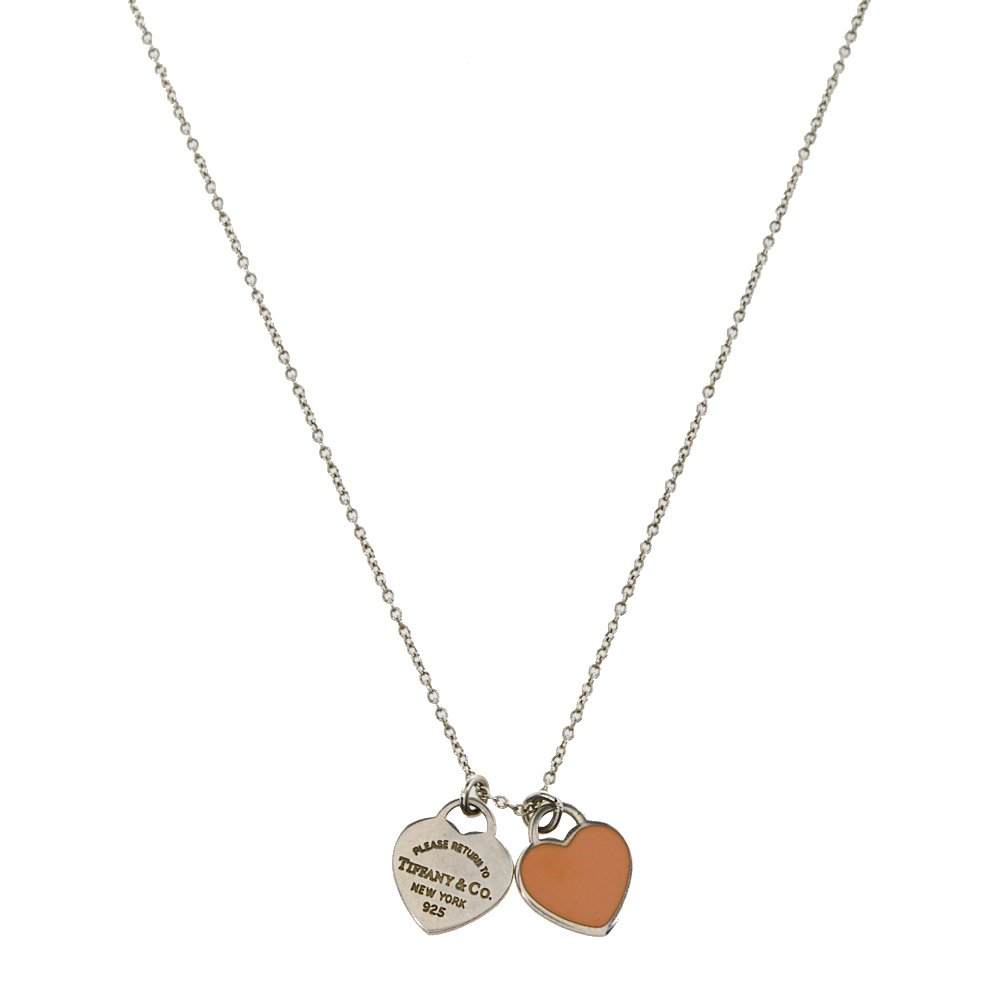 Pre-owned Tiffany & Co Return To Tiffany Mini Double Heart Tag Pendant Chain Necklace In Pink