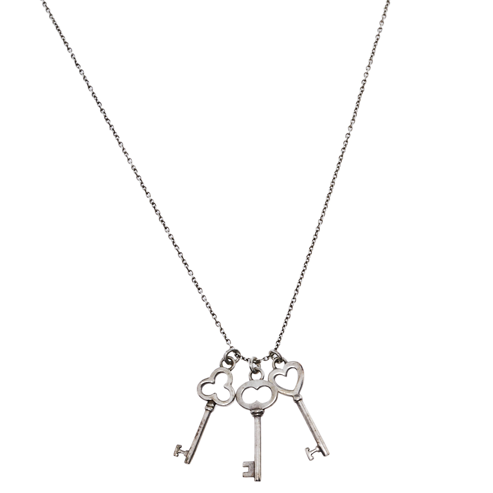 Pre-owned Tiffany & Co Sterling Silver Mini Triple Key Pendant Necklace