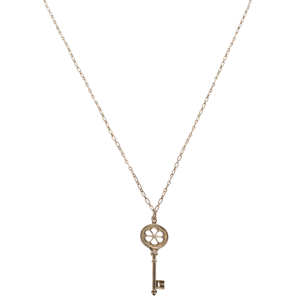 Pre-owned Tiffany & Co Sterling Silver/diamond Blossom Large Key Pendant Necklace