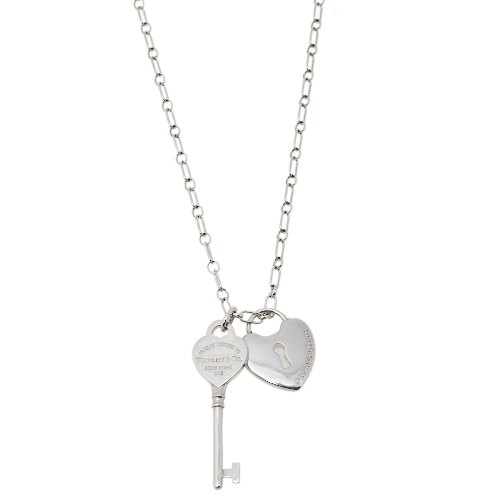 Pre-owned Tiffany & Co Sterling Silver Heart Lock & Key Charm Pendant Necklace