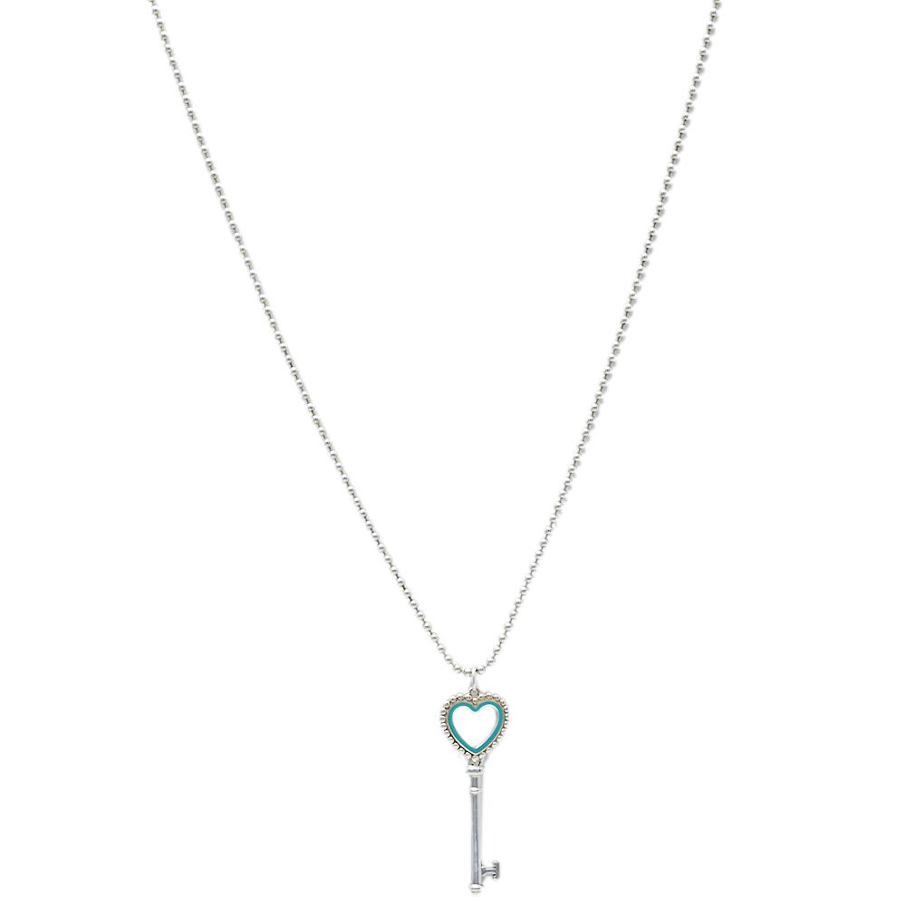 Pre-owned Tiffany & Co Tiffany Keys Enamel Silver Beaded Heart Key Pendant Necklace