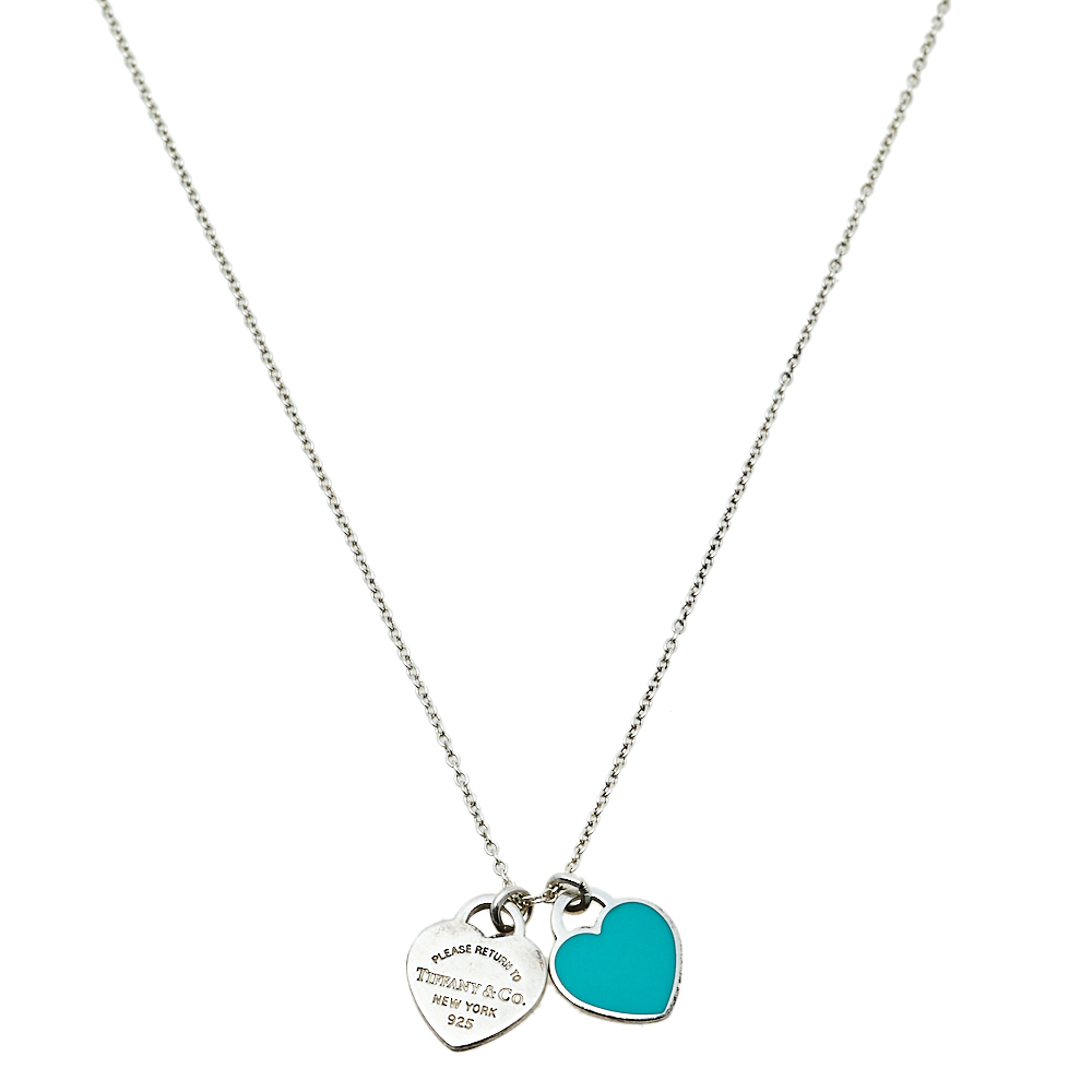 Pre-owned Tiffany & Co Return To Tiffany Double Heart Tag Pendant Necklace In Silver
