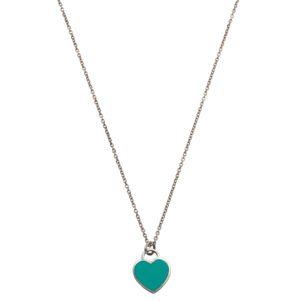 Tiffany Co Return To Tiffany Mini Double Heart Tag Sterling Silver Pendant Necklace Tiffany Co Tlc