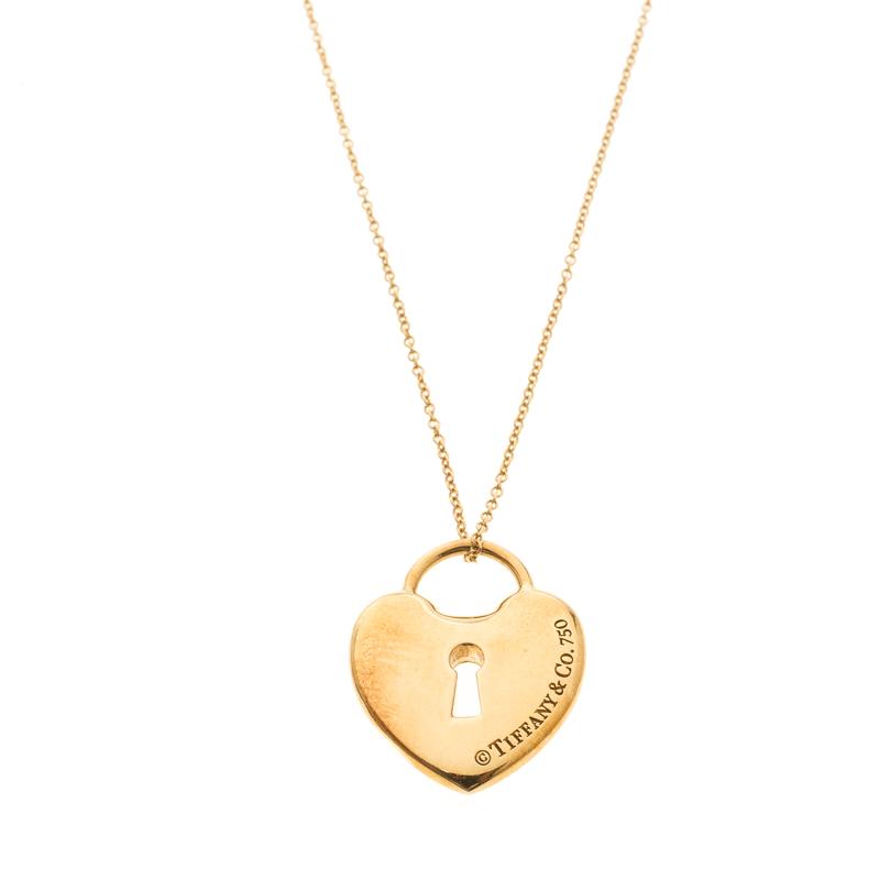 Buy Tiffany Co Heart Lock Keyhole 18k Yellow Gold Pendant