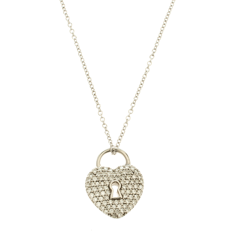 7a3f50881 Heart Lock Diamond Paved Platinum Pendant & 18k White Gold Chain Necklace.  nextprev. prevnext