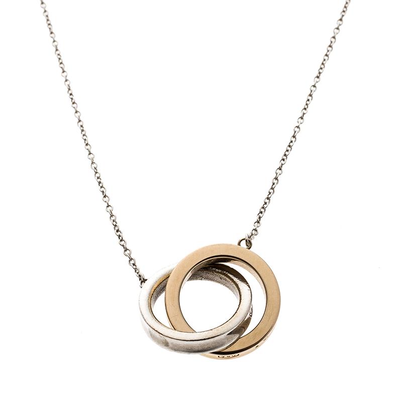 b268bb30209e4 Tiffany & Co. Tiffany 1837 Interlocking Circles Silver & 18k Rose Gold  Pendant Necklace