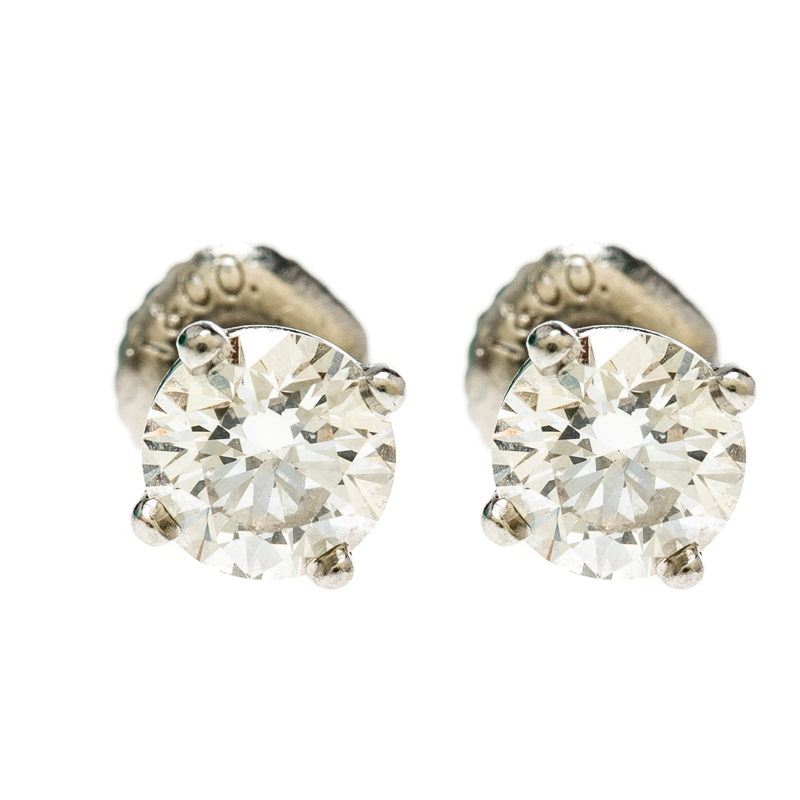 4928b8f0289 1.10cttw Solitaire Diamond   Platinum Stud Earrings. nextprev. prevnext