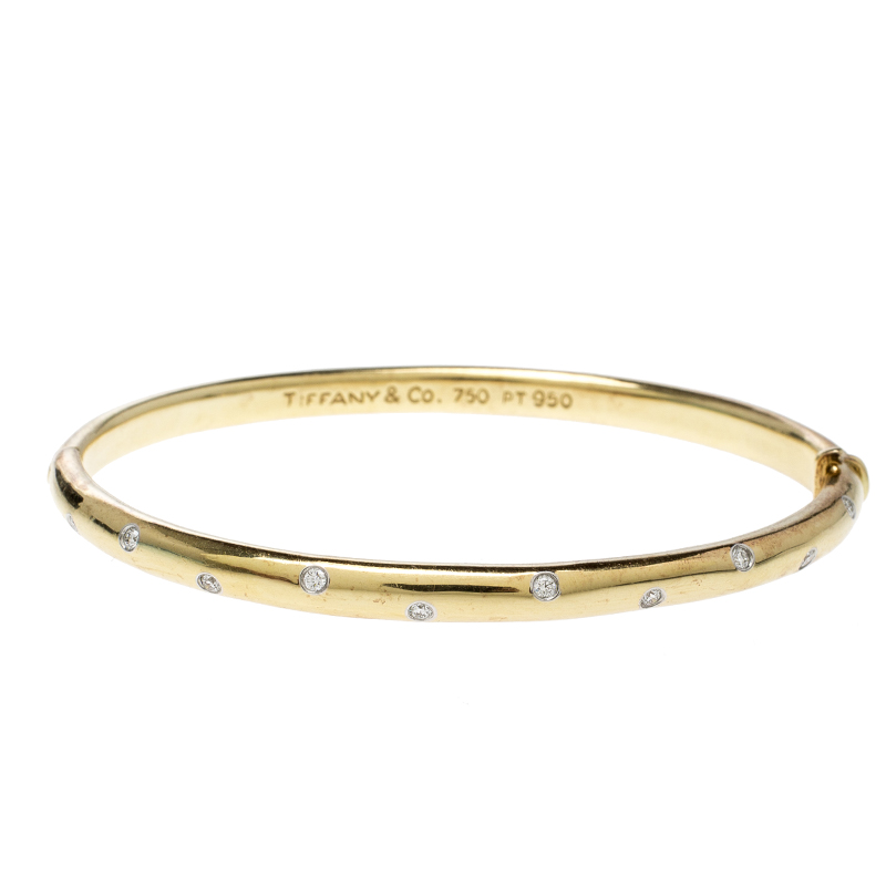 Купить со скидкой Tiffany & Co. Etoile Diamond Platinum 18k Yellow Gold Bangle Bracelet