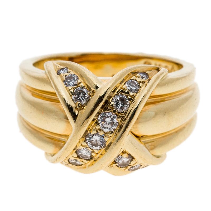 Фото #1: Tiffany & Co. Signature X Kiss Diamond & 18k Yellow Gold Ring Size 53