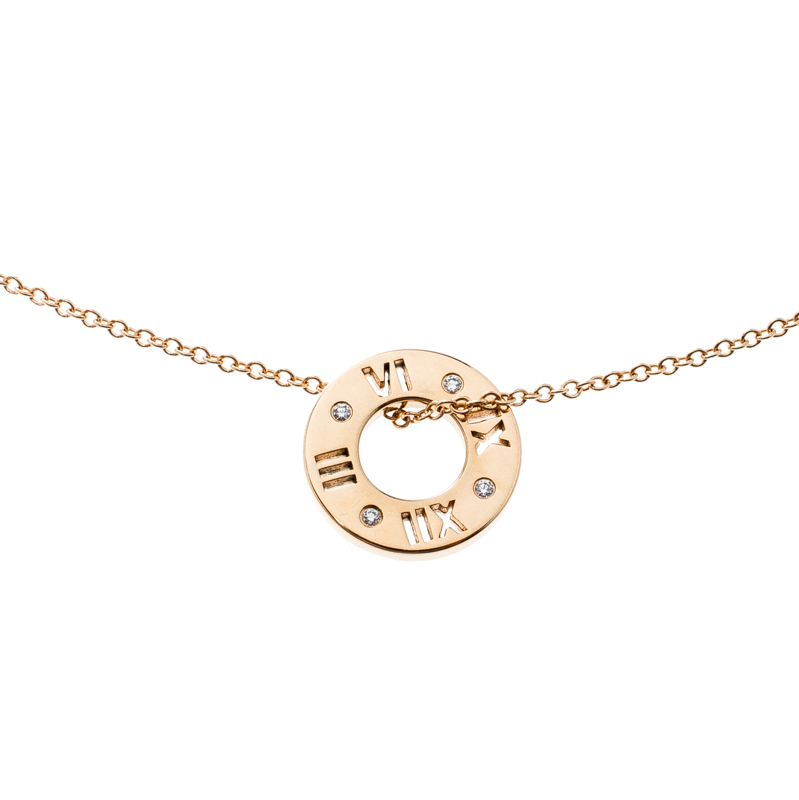 Купить со скидкой Tiffany & Co. Atlas Pierced Diamond & 18k Rose Gold Pendant Necklace