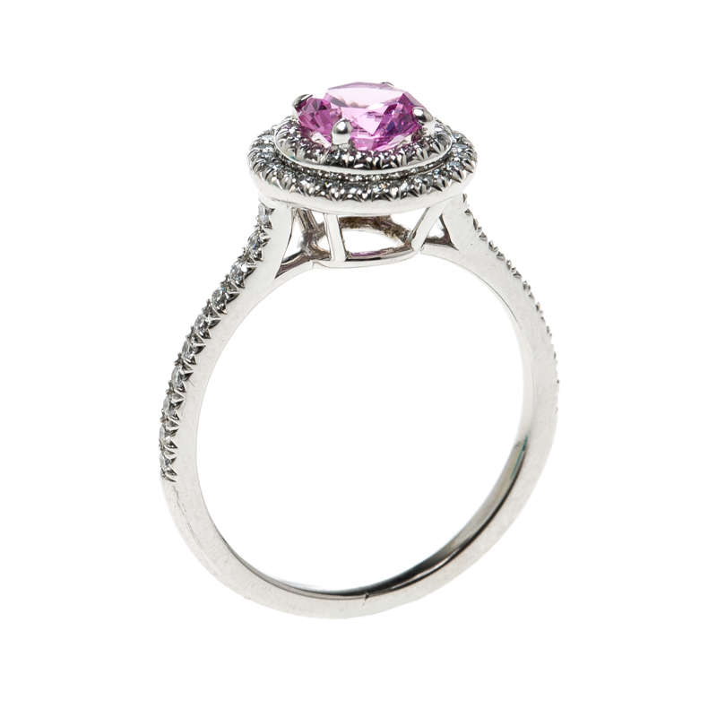 Купить со скидкой Tiffany & Co. Soleste Pink Sapphire Diamond Platinum Halo Ring Size 54