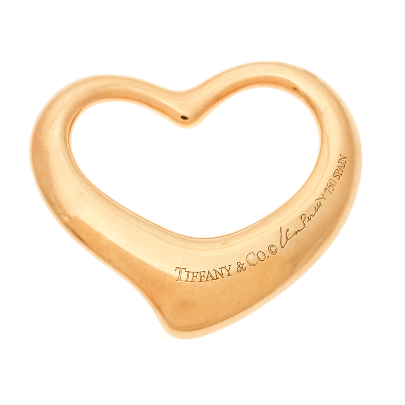 Tiffany & Co. Elsa Peretti Open Heart 18k Yellow Gold Pendant Charm