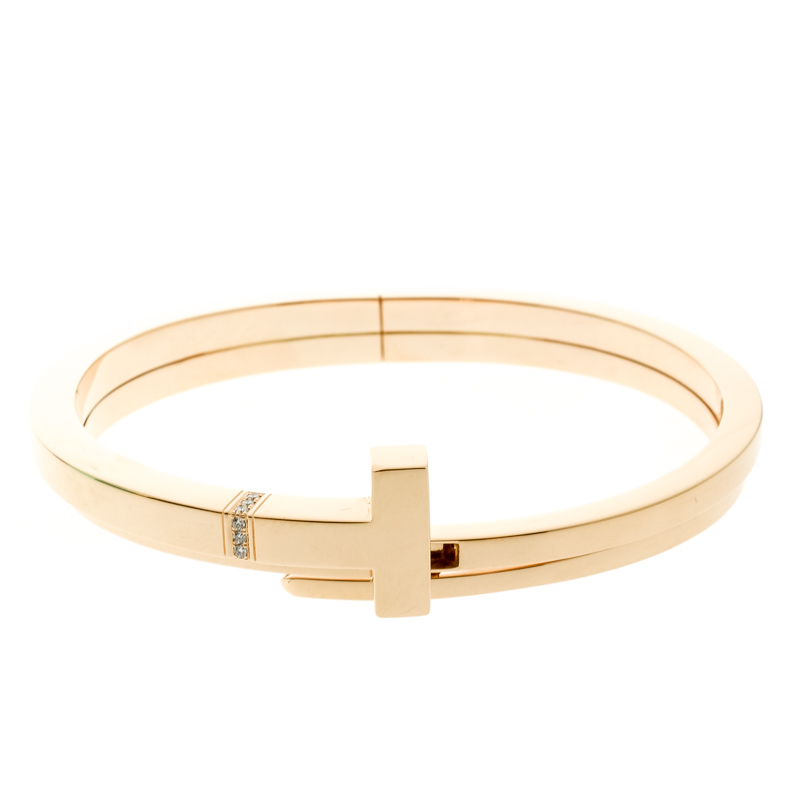 Купить со скидкой Tiffany & Co. Tiffany T Square Wrap Diamond & 18k Rose Gold Cuff Bracelet