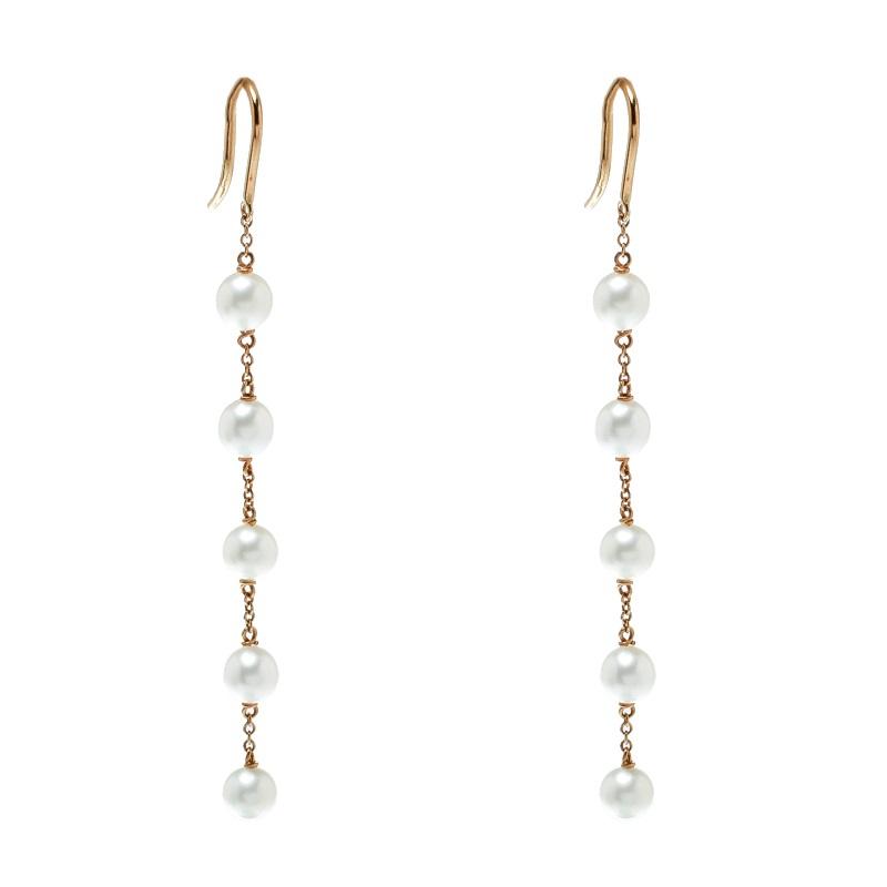 9195f919df39f Tiffany & Co. Elsa Peretti Pearls By The Yard 18k Yellow Gold Dangle Hook  Earrings