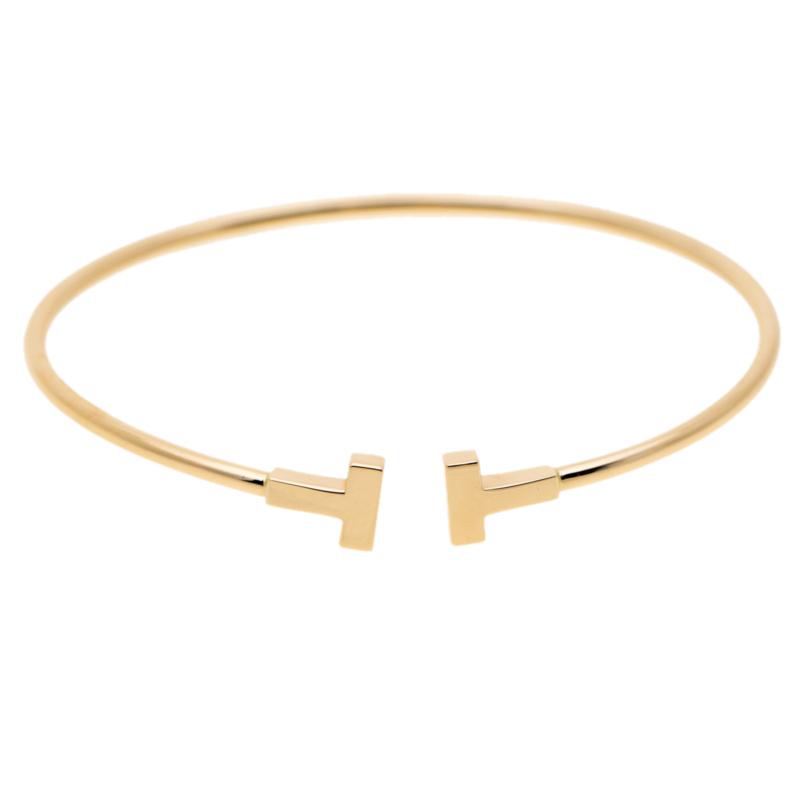 eef6494ac5333 Buy Tiffany & Co. T Wire 18k Yellow Gold Narrow Bracelet 15cm 186361 ...