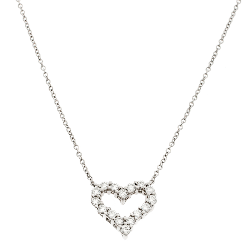 19b526004 Buy Tiffany & Co. Diamond Heart Platinum Pendant Necklace 198470 at ...